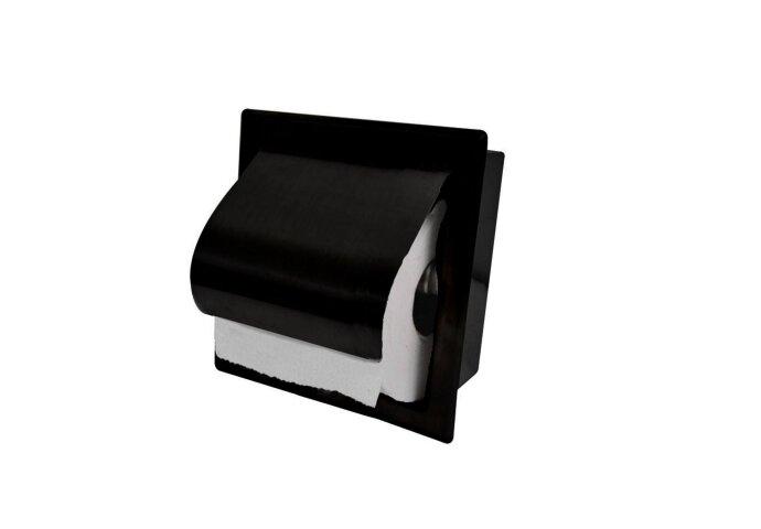 BWS Inbouw Toiletrolhouder RVS Mat Zwart