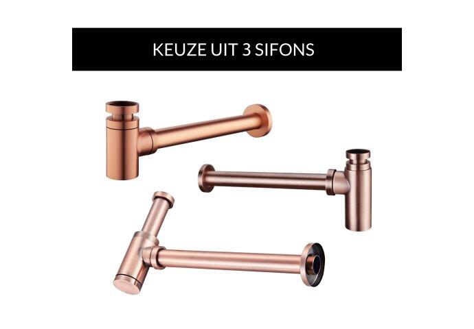 Waskomset BWS Rond 26x12 cm Keramiek Glanzend Wit / Koper (inclusief kraan, afvoer en sifon)