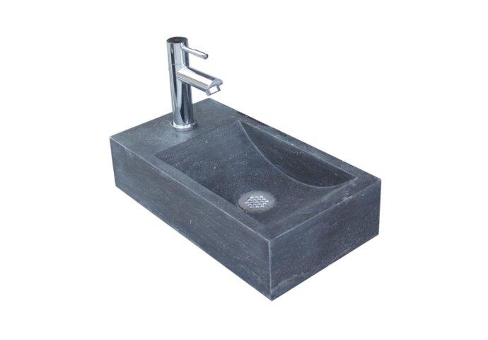 Natuursteen fontein Sanilux Recto 40x22x10cm (kraangat Links)