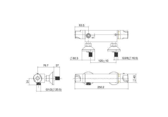 Thermostaatkraan Universal douchekraan 12cm (Douchekranen opbouw)