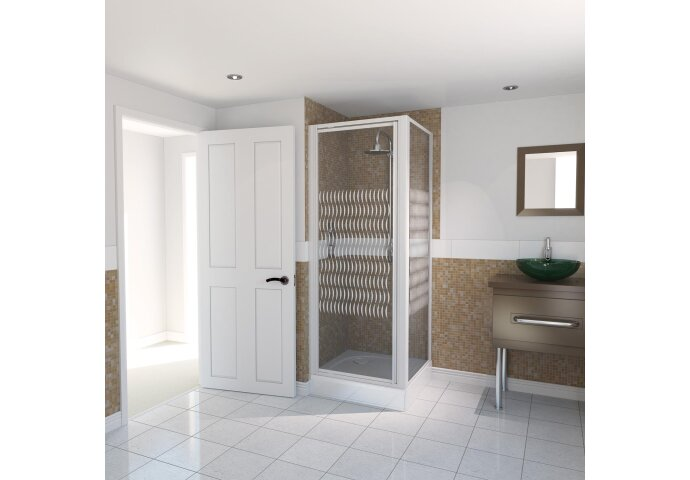 AQX AQUA4 Pivot Door & SidePanl WhiteVertStripe 800*1850 4mm