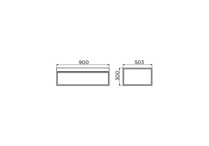 Clou Hammock Frame Kokerprofiel Kast Zonder Bodem RVS Mat Zwart 90x50.3x30cm