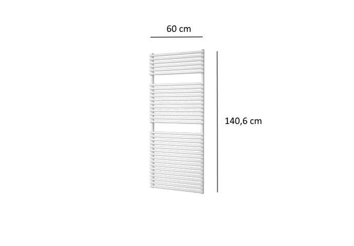 Designradiator Plieger Florian 881 Watt Vier Aansluitpunten 140,6x60 cm Wit