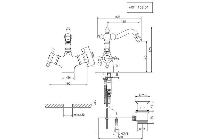 Huber Victorian Thermostatische Bidetmengkraan Chroom-Goud 15601HCA