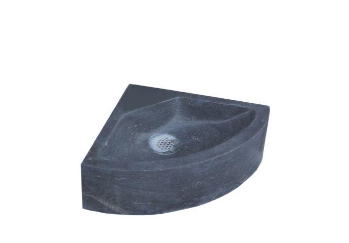 Fontein Sanilux Corner Hardsteen 30x30x10cm Kwartrond met kraangat