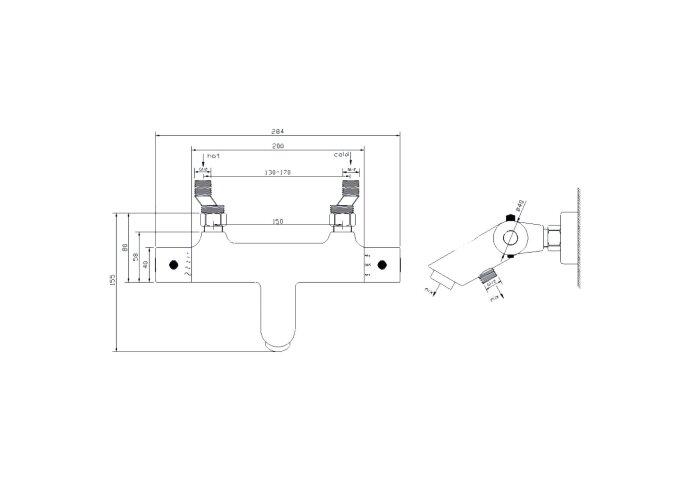 Thermostatische Badkraan Wiesbaden Rio H.o.h. 15 cm Mat Zwart