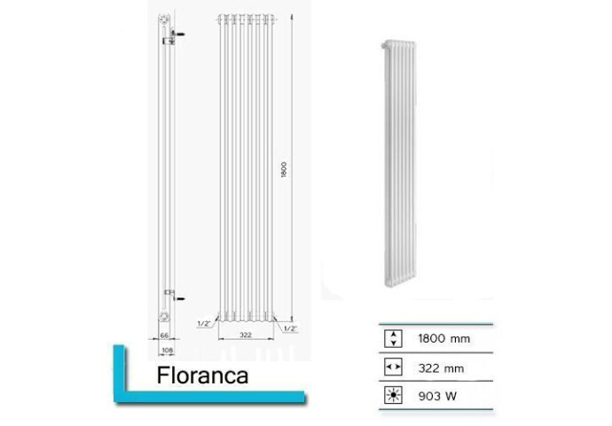 Designradiator Plieger Florence 903 Watt Zijaansluiting 180x32,2 cm Aluminium