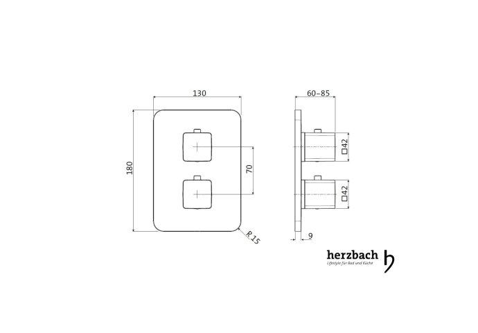 Inbouw Thermostaatkraan Herzbach Living Rechthoek Veiligheidsbegrenzer Chroom (vierkante hendels)