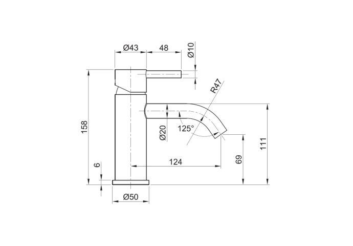 Wastafelmengkraan Sapho Minimal 1-hendel Gebogen 15.8 cm RVS