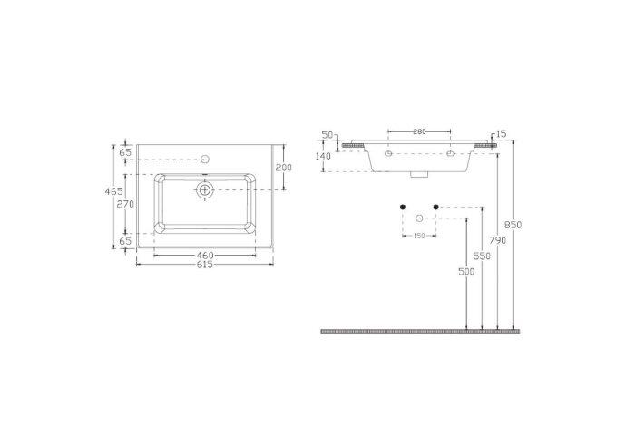 Badkamermeubelset Sanicare Q3 Twee Laden Soft-Closing Alu Greep 60x45 cm Schots-eiken(spiegel optioneel)