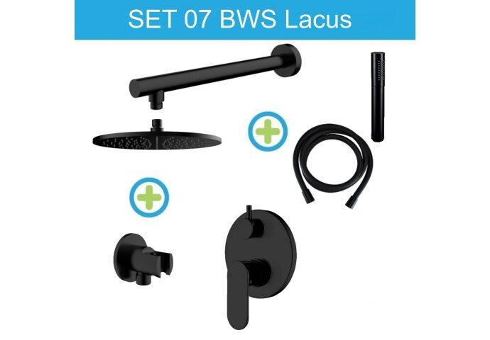 BWS Lacus Inbouw Regendouche Set 07 Mat Zwart