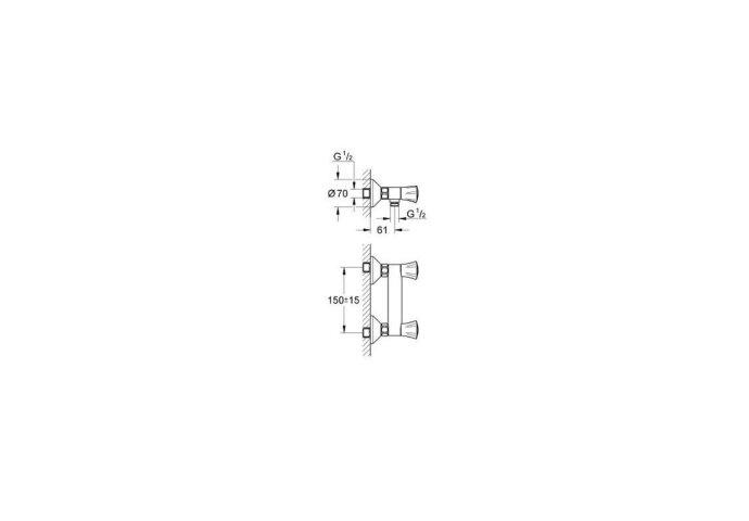 Grohe Costa-l Douchekraan Met Koppelingen 150 Mm. Chroom