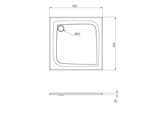 Douchebak Allibert Mooneo Vierkant Inbouw Bioplax 90x90 cm Wit