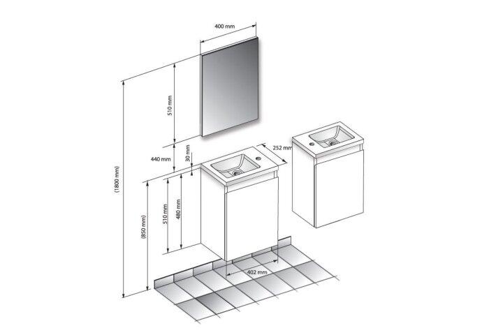 Fonteinset Allibert Porto Pack 40 Inclusief Spiegel Soft Close 40x51x25 cm Hamilton Eiken