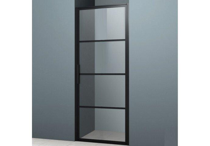 Nisdeur Lacus Tremiti 70x200 cm 6mm Helder Glas Mat Zwart Aluminium Profiel