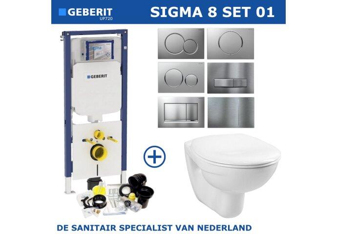 Geberit Sigma 8 (UP720) Toiletset set01 Basic Smart Met Sigma Drukplaat