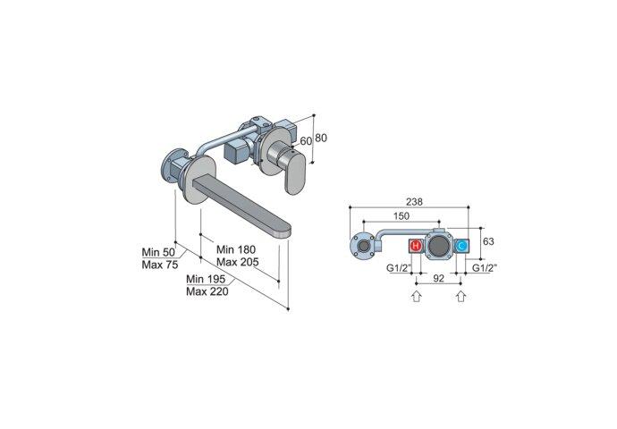 Wastafelmengkraan Hotbath Friendo 3+3 Inbouwsysteem 1-hendel Uitloop Recht 18 cm Geborsteld Nikkel