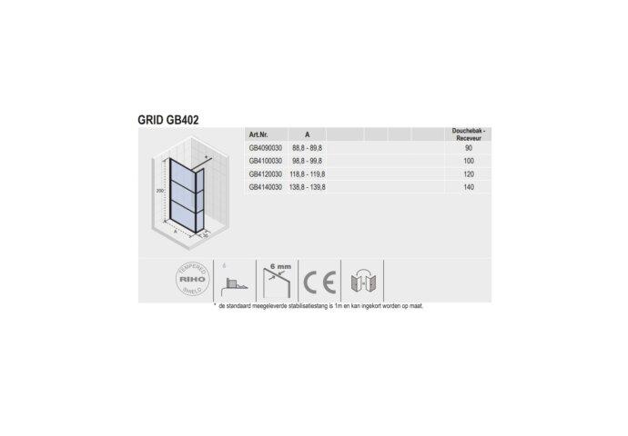 Inloopdouche met Zijwand Riho Grid 90x200 cm 6 mm Helderglas Zwarte Profielen
