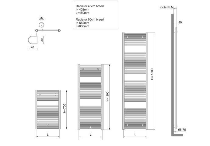 Elara sierradiator wit 1185x450 Middenonder aansluiting