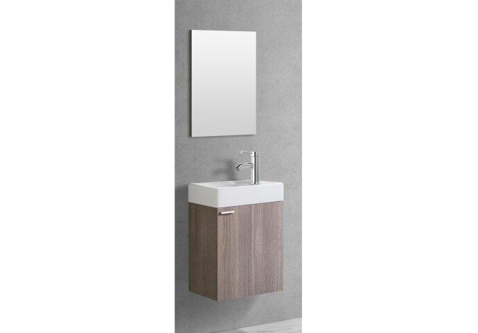 Fonteinkast Creavit Aloni Kleur Oak Onderkast Wastafel En Met Spiegel 40x22x60cm