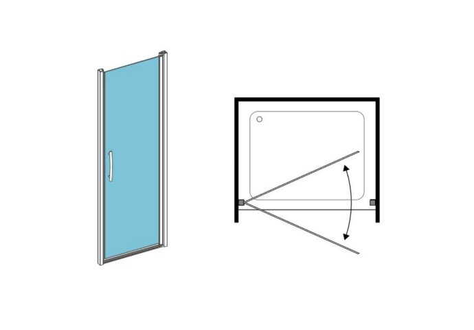 Nisdeur 1-delig Lacus Giglio 100x190 cm 6mm Nano Helder Glas Aluminium Profiel