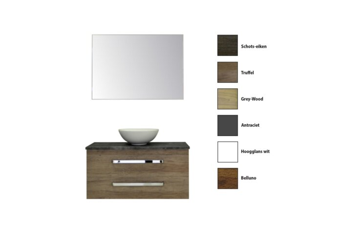 Badkamermeubelset Sanicare Q11 2 Laden 100cm Grey-Wood (spiegel optioneel)