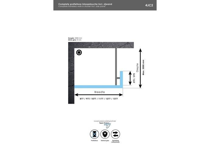 Complete Profielloze Inloopdouche Met Vaste Zijwand 30cm (Alle Kleuren En Maten)