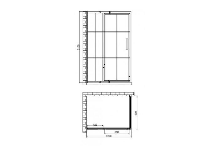 Douchecabine Best Design Zeplin-1200 met Nisdeur 120x90x210x8 cm Mat Zwart