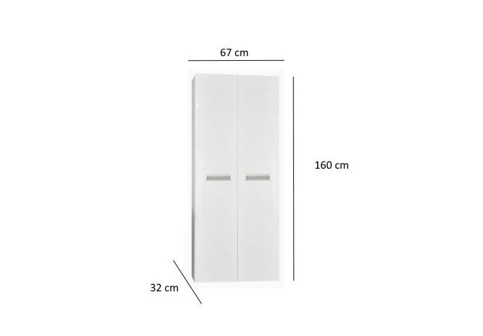 Kolomkast Sanicare Q2/Q3/Q8 2-Deurs Soft-Closing Alu Greep 160x67x32 cm Antraciet