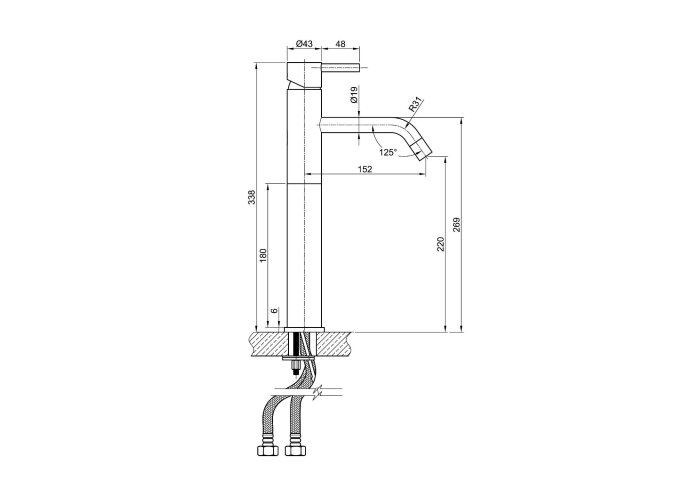 Wastafelmengkraan Sapho Minimal 1-hendel Gebogen Hoog 33.8 cm RVS