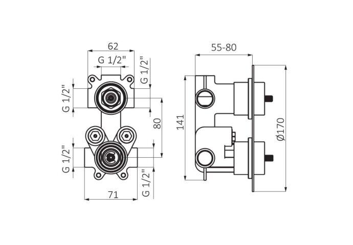 Inbouw Douchekraan GRB Aura Thermostatisch 3-Wegs Chroom