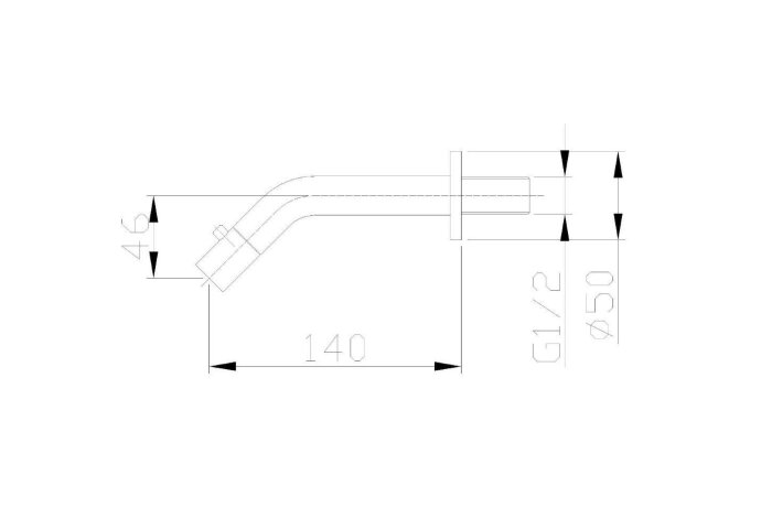 BWS Inbouw Toiletkraan Parvati Muur Rond 22x8x5,5 cm Chroom