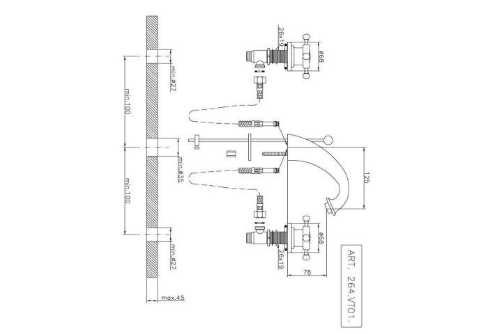 Wastafelmengkraan Huber Victorian 3 gats 264VT01HCA Chroom-Goud