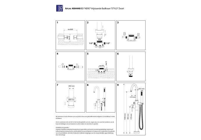 Vrijstaande Badmengkraan Best Design White Stylo met Handdouche RVS Mat Wit