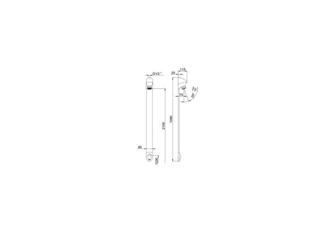 Presto doucheset opbouw design 6L/min. met verstelbaar anti-kalk douchekop, vandaalbestendig