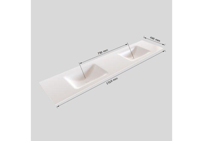 Badkamermeubel Solid Surface BWS Oslo 150x46 cm Dubbel Wood Washed Oak 4 Laden (0 kraangaten)