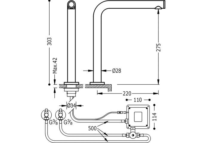 Elektronische Keukenkraan Tres Trestronic Touch-Tres 2 Uitgangen Chroom