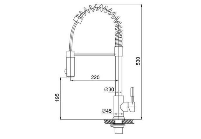 304-Floyd RVS Keukenkraan professional met handdouche (Keukenkraan)