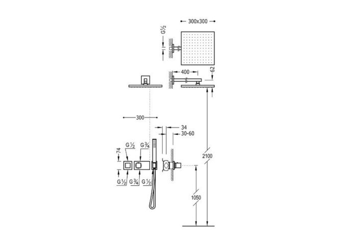 Regendouche Inbouw Tres Block System Thermostaatkraan 30x30 cm Douchekop Vierkant Wandarm Mat Zwart