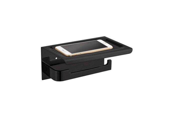 Toiletrolhouder met Telefoonplankje Best Design 18x12 cm Mat Zwart (zonder telefoon)