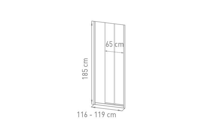 Nisdeur VM Go Avis 120x185cm Schuifdeur 4mm Veiligheidsglas Met Stroken Chroom