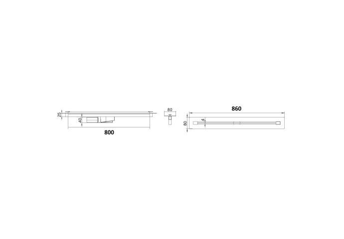 Douchegoot Boss & Wessing Lusso 80 cm RVS Mat Zwart