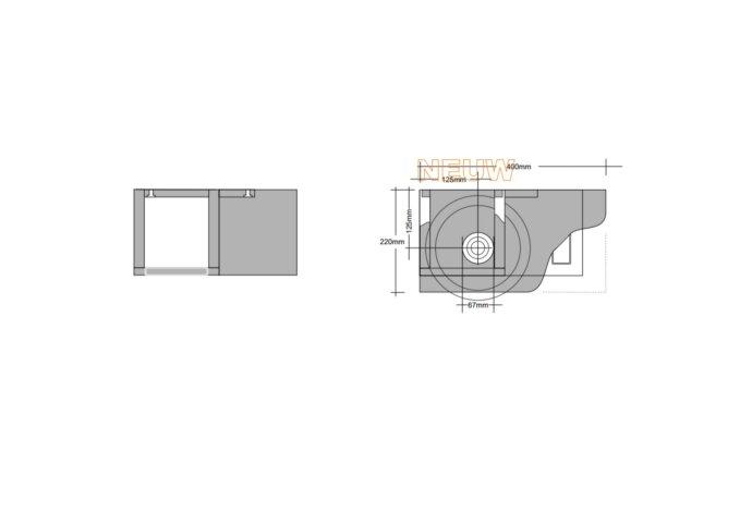 Fonteintafel Massief Eiken met Open Opzetkom 40x22 cm Glans of Mat Wit