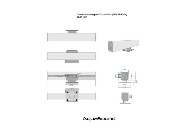 Radio Music Center Aquasound N-Joy Controller (IPX7) + Wand lader + Twin Sound-bar / 2x25 Watt (IPX5)