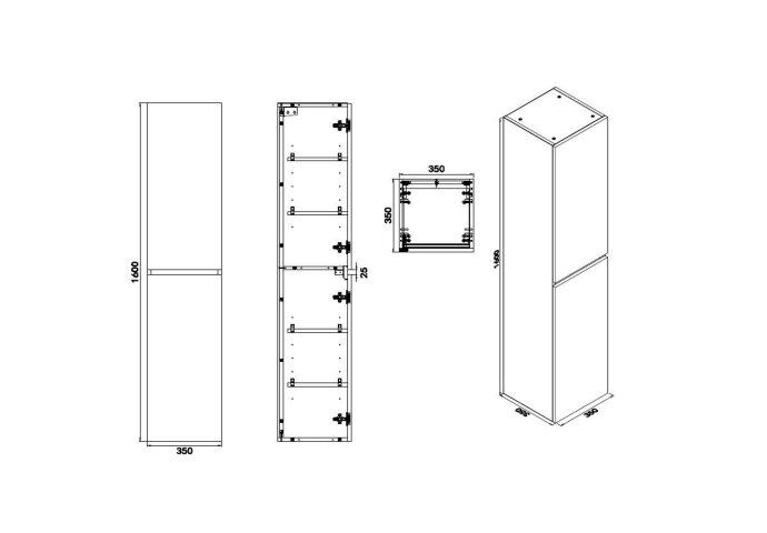 Kolomkast Wiesbaden Vision 160x35x35 Wit (2 deuren)