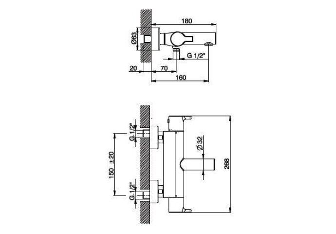 Huber Soft Thermostatische Badkraan Chroom SF.T21010.21