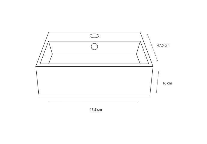 Fonteinset Differnz Dione 47.5x47.5x16 cm Keramiek (inclusief kraan en afvoer)