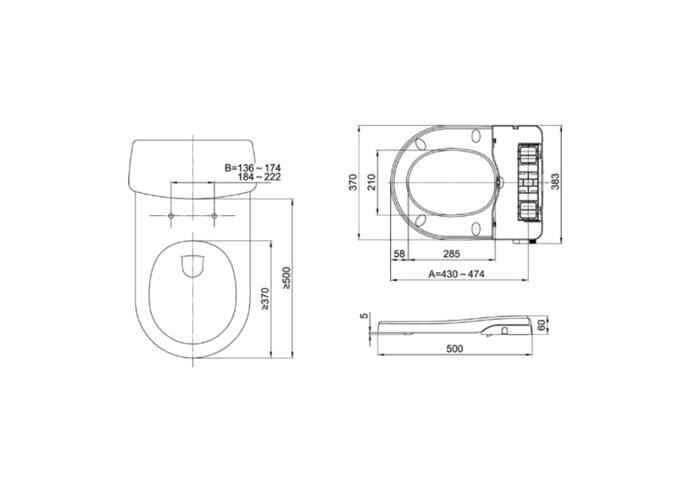 Maro D'Italia FP104 Stroomloze Bidet toiletbril (douche wc) met softclose systeem en QuickRelease