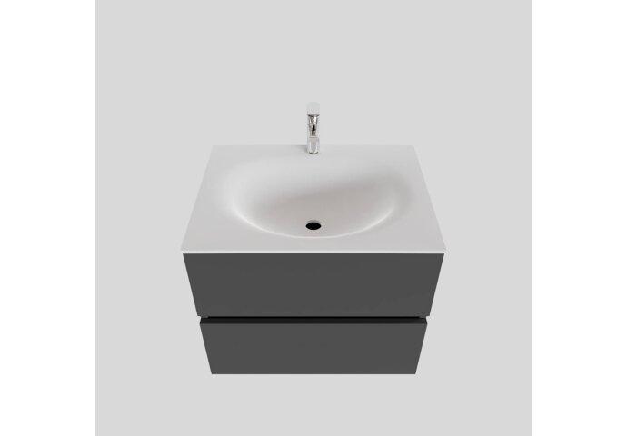 Badkamermeubel Solid Surface BWS Stockholm 60x46 cm Mat Antraciet (met 1 kraangat)