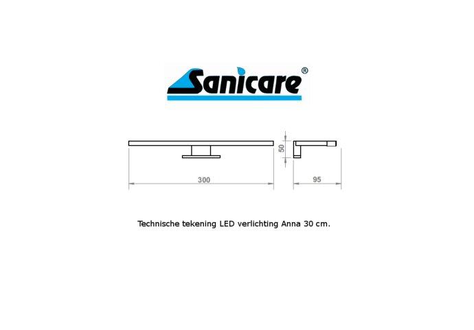 Spiegelverlichting Sanicare LED Anna 30 cm Mat Zwart